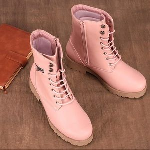 Shoes - NEW pink mid calf combat boots with secret pocket